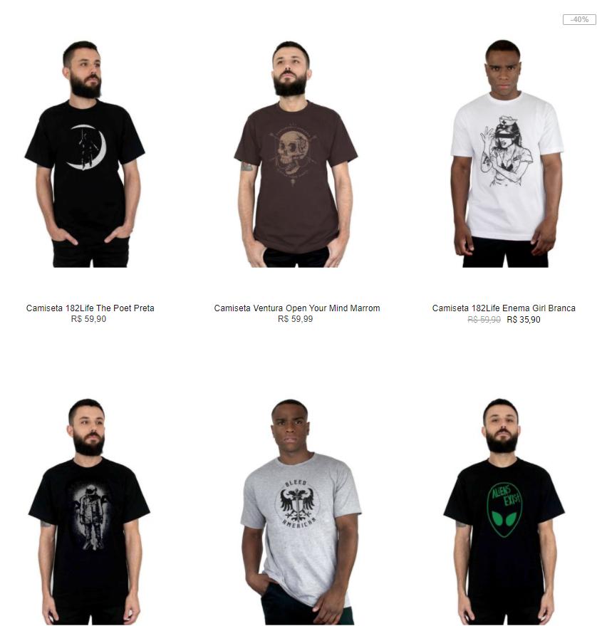 6CAM109A - 6 Camisetas por R$109 na Kanui - 6CAM109A