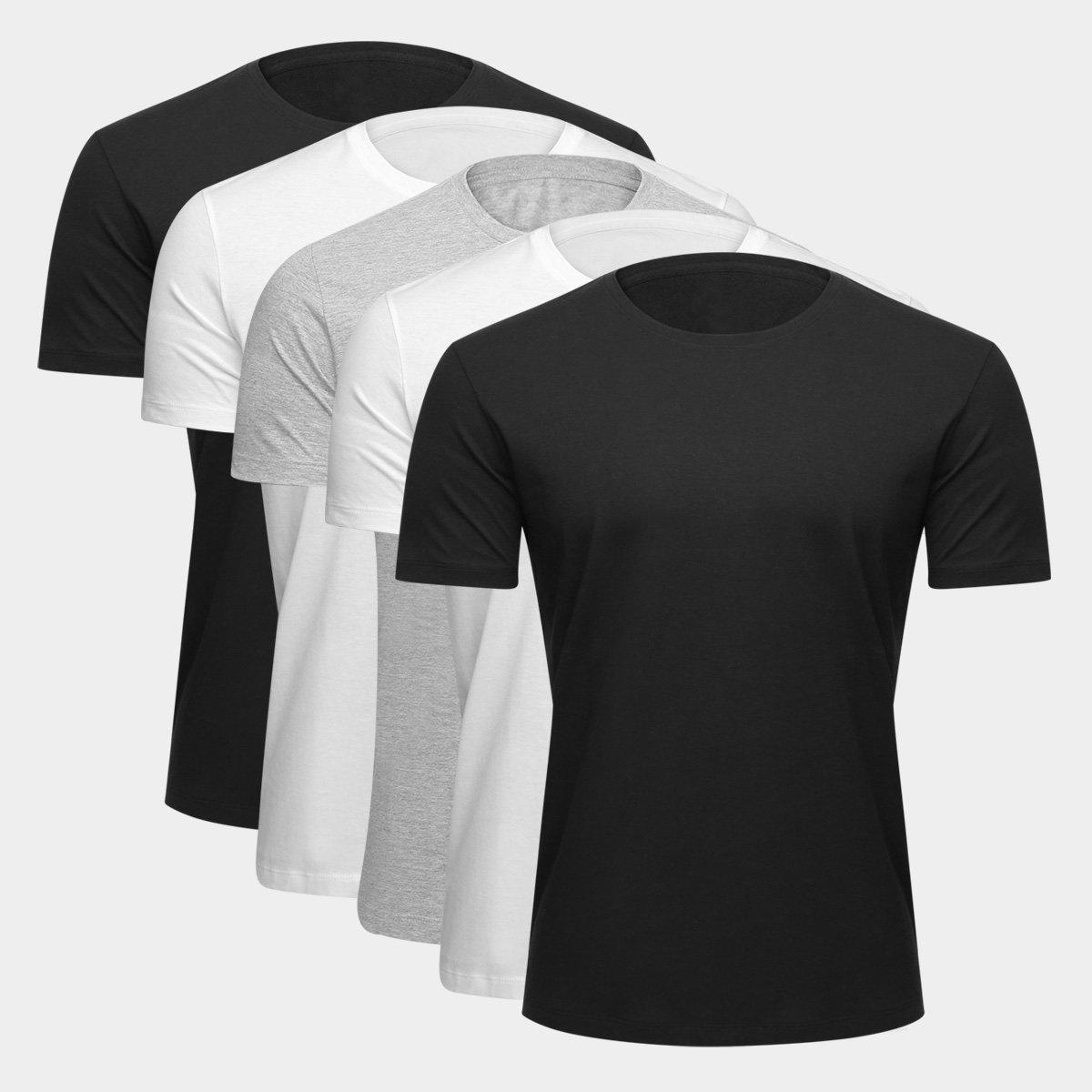 kit camiseta basica - Netshoes - Kit Camiseta Básica c/ 5 Peças Masculina - R$ 69,99