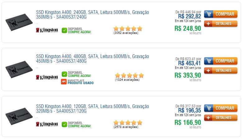 ssd - SSD na KaBuM! a partir de R$147,90