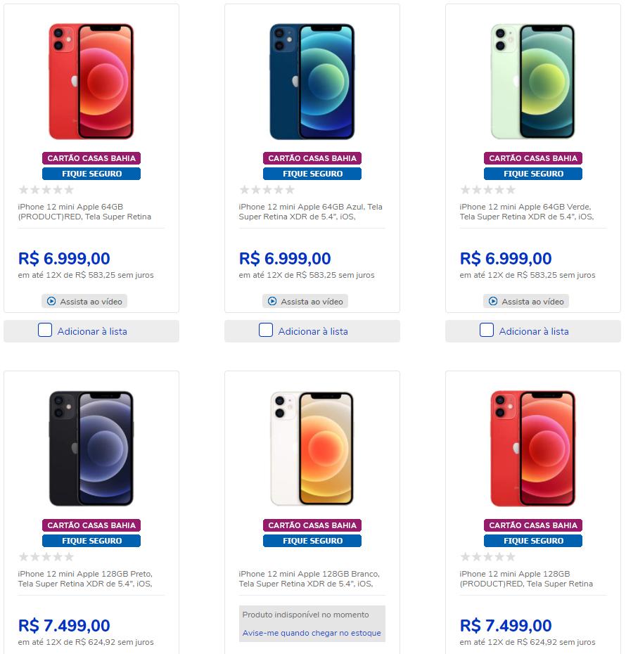 iphone 12 - Black Friday - iPhone 12 nas Casas Bahia