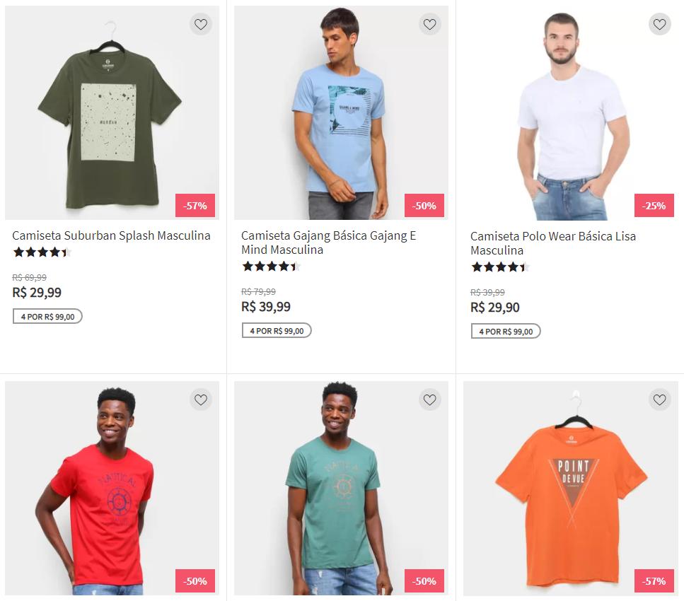 4 camisetas 99 - Zattini - 4 Camisetas por R$99