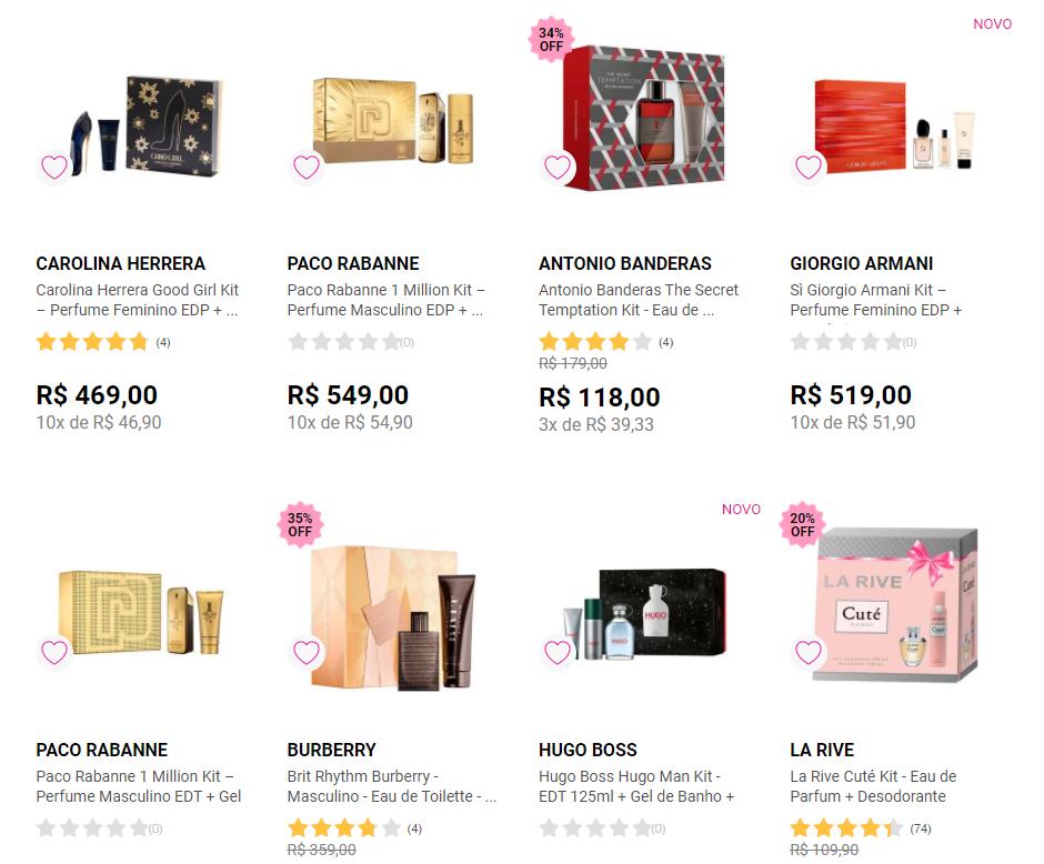 kits perfumes - Época - Kit de Perfumes a partir de R$43,90