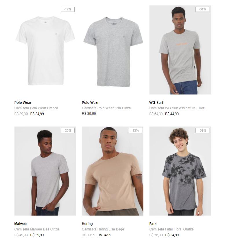 3CA89M - Dafiti - 3 Camisetas por R$89 - 3CA89M