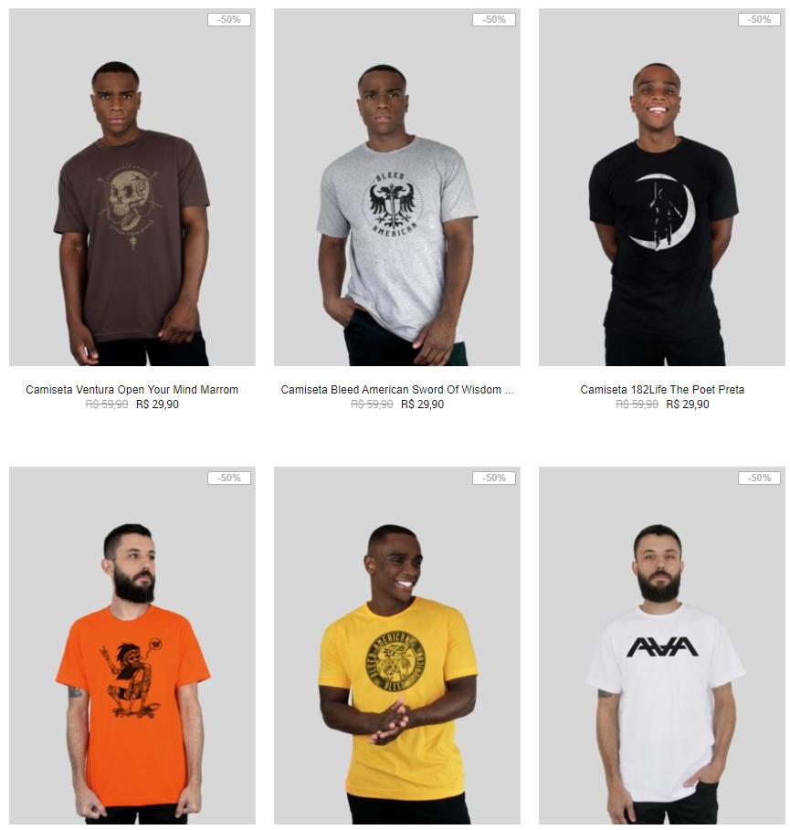 6CAM109A - 6 Camisetas da lista por R$109 na Kanui - 6CAM109A