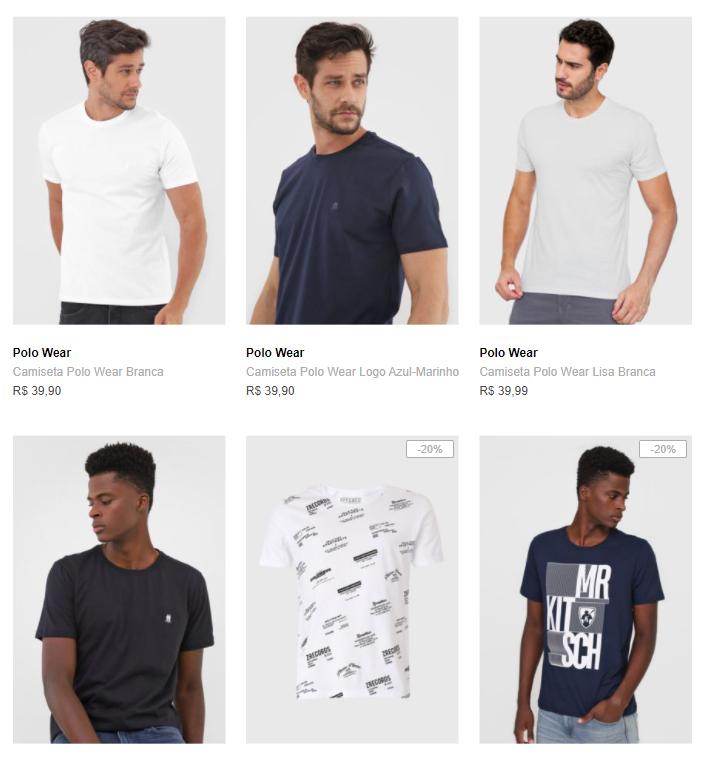 3CA89M - 3 Camisetas por R$89 na Dafiti - 3CA89M