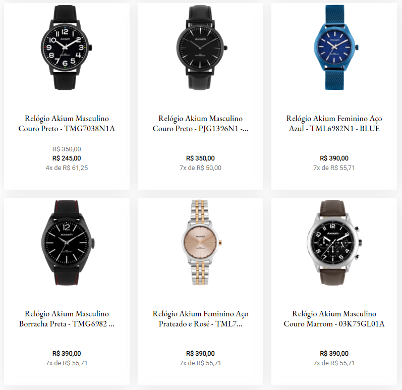 akium - Vivara - Relógios Akium a partir de R$245,00