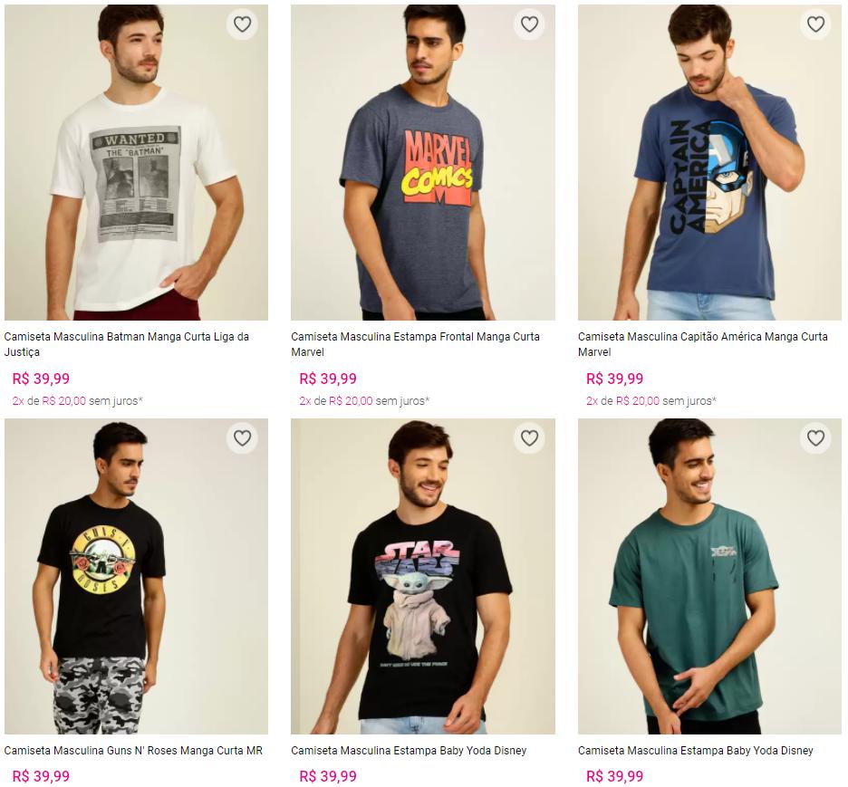camiseta - Marisa - 2 Camisetas Masculinas por R$59