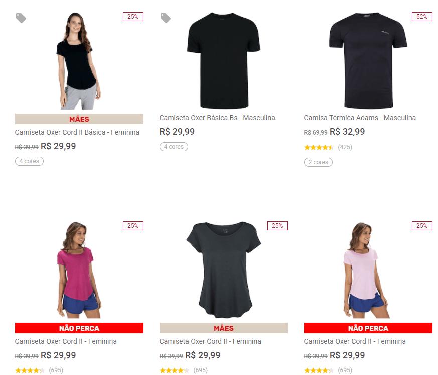 4CAM99 - Centauro - 4 Camisetas por R$99,96 - 4CAM99