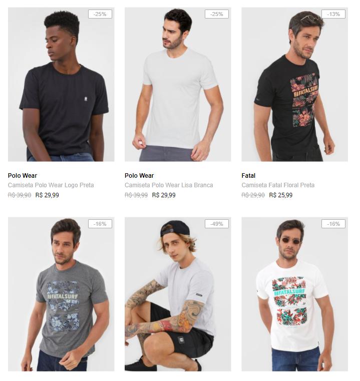 camisetas - Dafiti - Camisetas por R$29