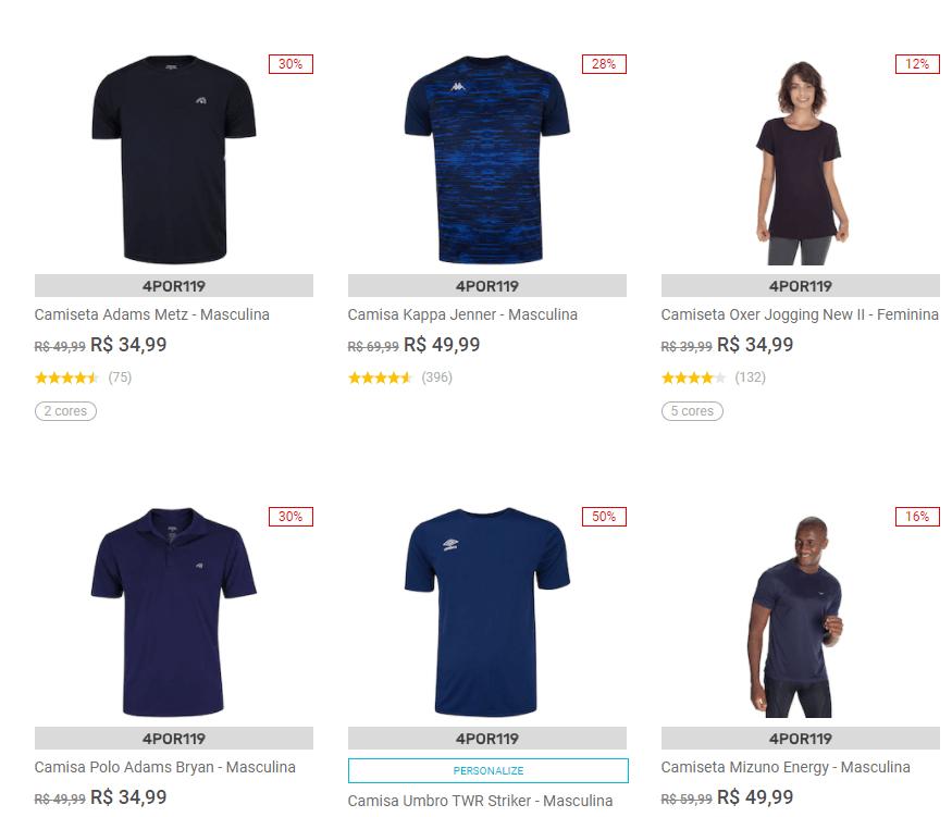 4POR119 - Centauro - Combo - 4 Camisetas por R$119 - 4POR119