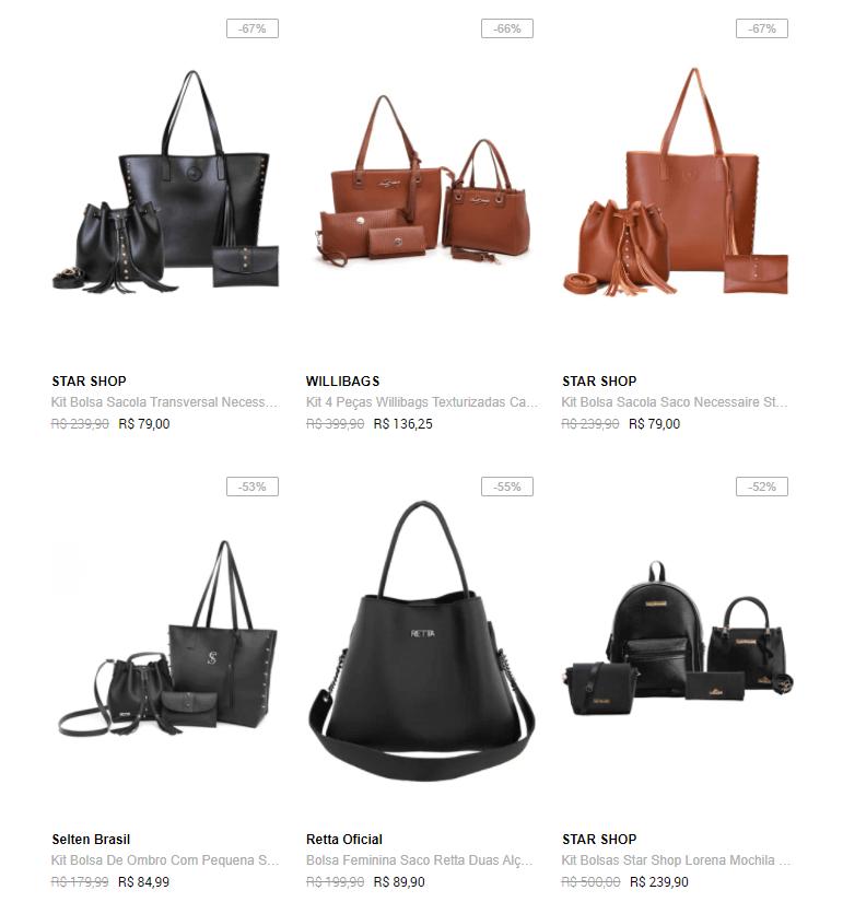 bolsas kits - Dafiti - Bolsas pela metade do preço
