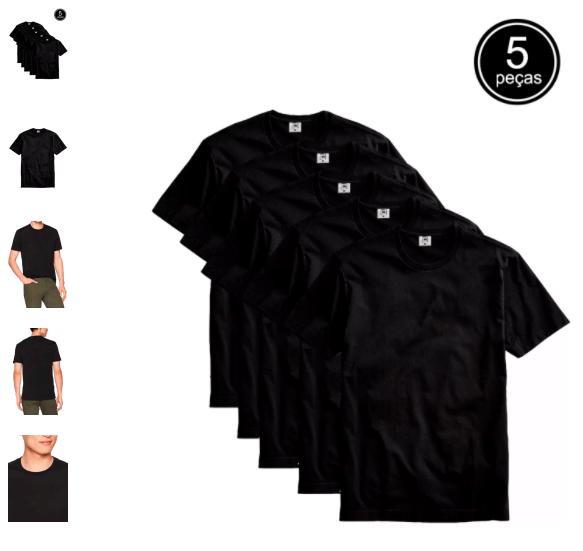 camisetas basicas - Kanui - Kit com 5 Camisetas Básica - R$ 94,90