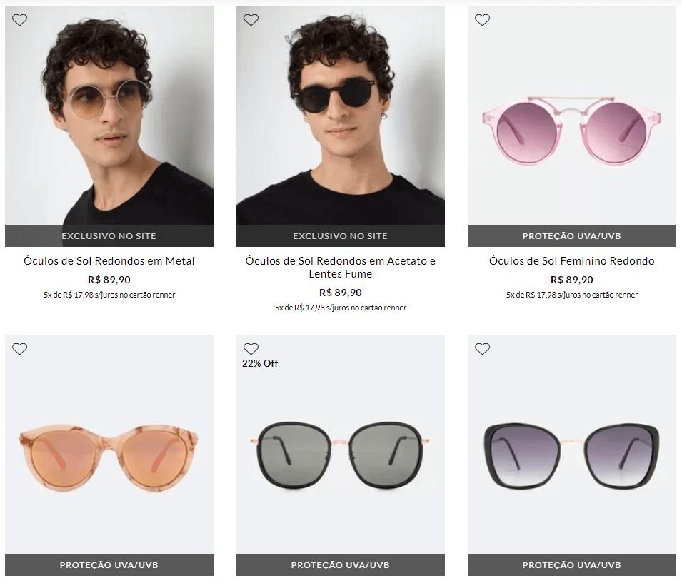 oculos de sol - Renner - 2 Óculos de Sol por R$129,90