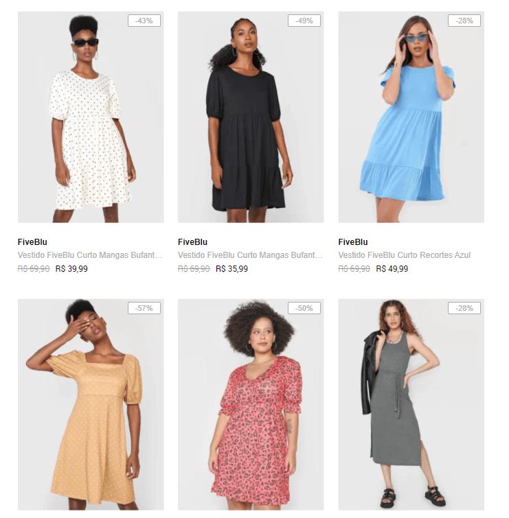 vestidos - Dafiti - Vestidos até R$49,99