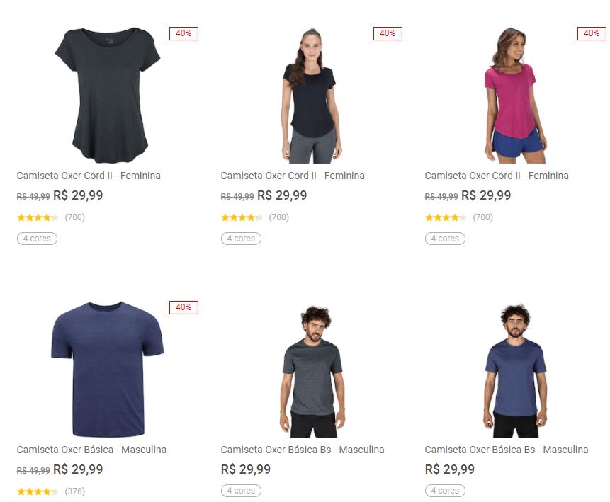 2CAM49 - Centauro - 2 Camisetas Oxer por R$49,99 - 2CAM49