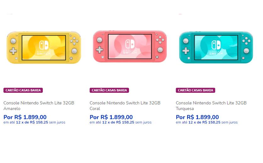 Console Nintendo Switch Lite 32GB - Casas Bahia - Console Nintendo Switch Lite - 12x R$158,25