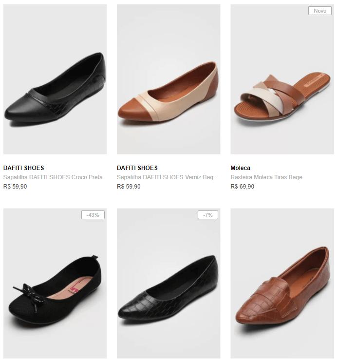 sapatilhas rasteiras - Dafiti - Sapatilhas e Rasteiras - 3 por R$99