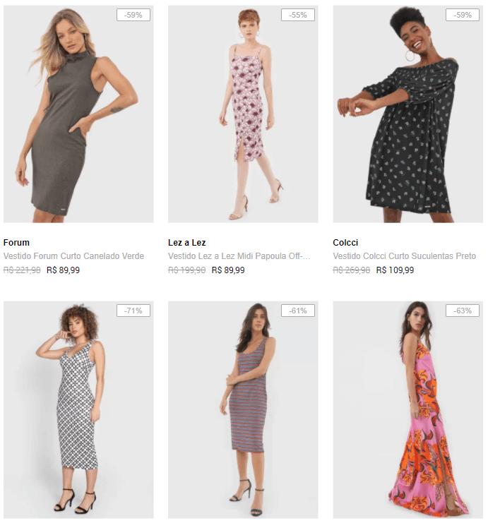 vestidos - Dafiti - Vestidos Top Marcas a partir de 50% OFF